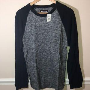 Express black gray L waffle Henley shirt NEW